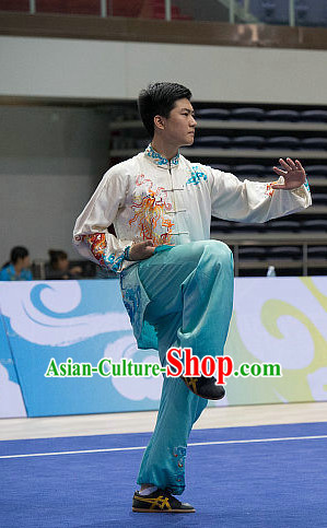 Top Dragon Embroidery Tai Chi Costumes Taijiquan Costume Aikido Chikung Tichi Uniforms Quigong Uniform Thaichi Martial Arts Qi Gong Combat Clothing Competition Suits for Men