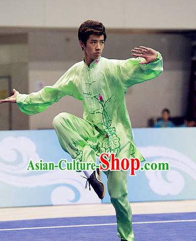 Top Embroidered Lotus Tai Chi Swords Championship Costumes Taijiquan Uniforms Quigong Uniform Thaichi Martial Arts Qi Gong Combat Clothing Competition Clothes for Men