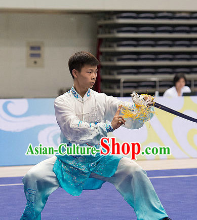 Top Embroidered Tai Chi Swords Championship Costumes Taijiquan Uniforms Quigong Uniform Thaichi Martial Arts Qi Gong Kung Fu Combat Clothing Competition Clothes for Men