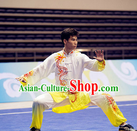 Top Embroidered Cloud Tai Chi Swords Championship Costumes Taijiquan Uniforms Quigong Uniform Thaichi Martial Arts Qi Gong Kung Fu Combat Clothing Competition Clothes for Men