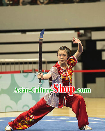 Top Red Shinning Chinese Kung Fu Sword Uniforms Martial Arts Competition Costume for Women