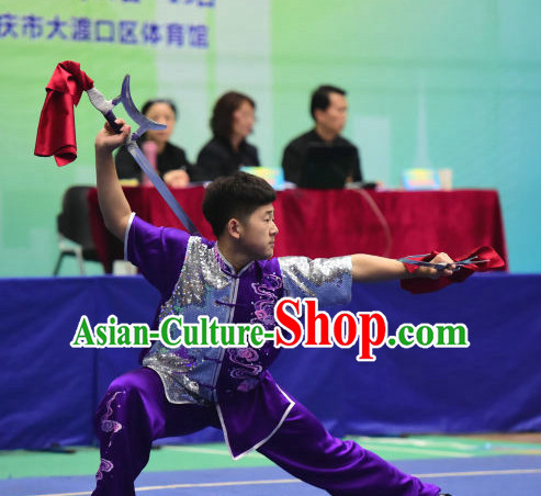 Top Chinese Wu Shu Kung Fu Sword Uniforms Kungfu Uniform Martial Arts Competition Costumes for Men