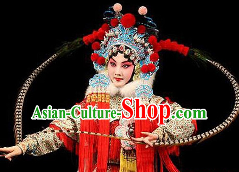 Chinese Classical Beijing Opera Mandarin Heroine Phoenix Hat and Peacock Feathers Long Pheasant Tail Feathers