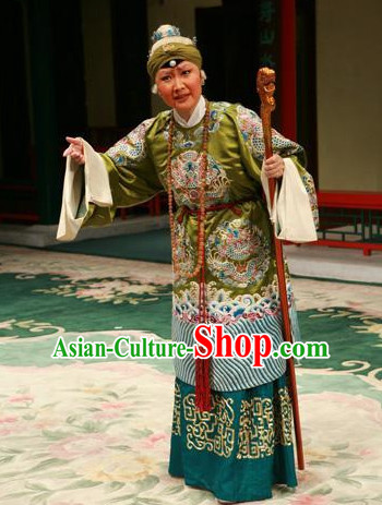 Chinese Peking Opera Beijing Opera Pantaloon Costume Cruth and Headwear Complete Set for Women