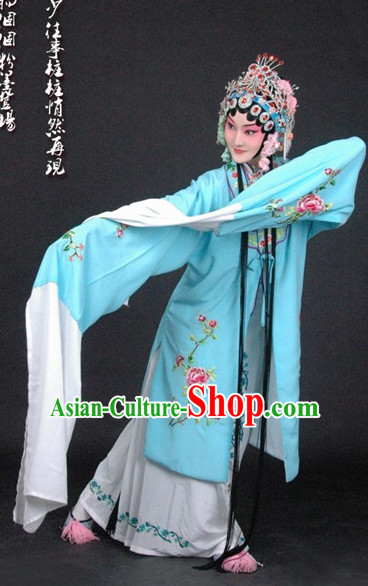 Chinese Beijing Opera Hua Tan Shaking Sleeves Costumes and Hair Accessories Full Set for Women