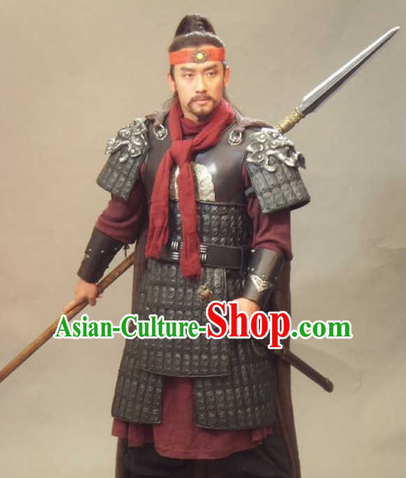 Chinese Ancient General Armor Costumes and Headwear Complete Set