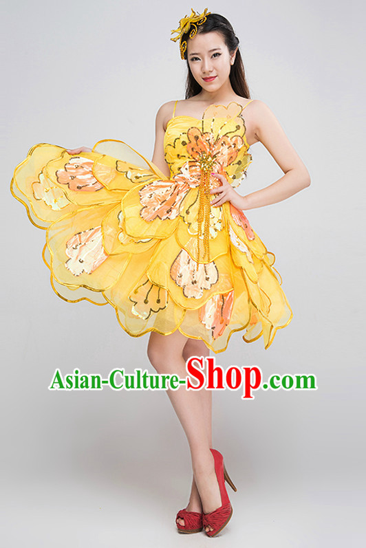 Chinese Professional Dance Costumes and Headpieces Complete Set for Women
