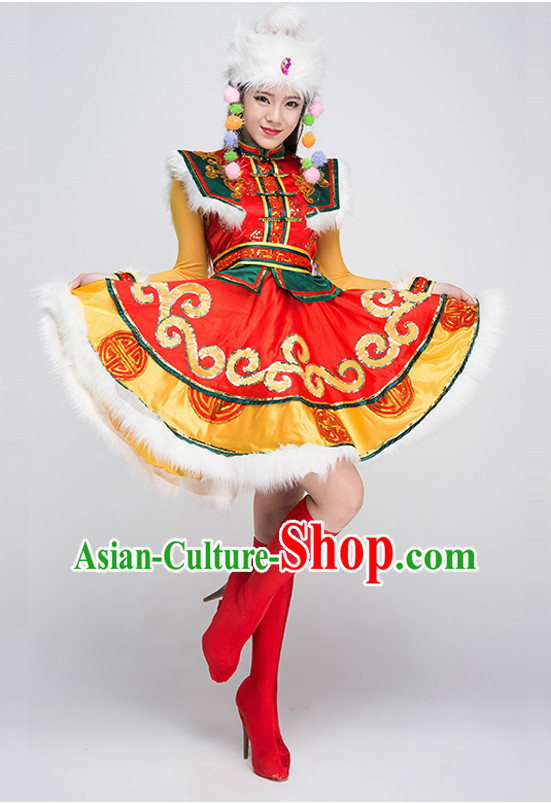 Asian Mongolian Dancing Costumes and Hat Complete Set for Women