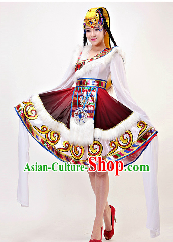 Traditional Chinese Tibetan Long Sleeev Dance Costumes Complete Set for Women