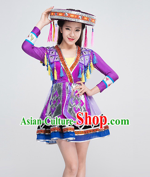 Traditional Chinese Female Ethnic Dance Costumes for Competition