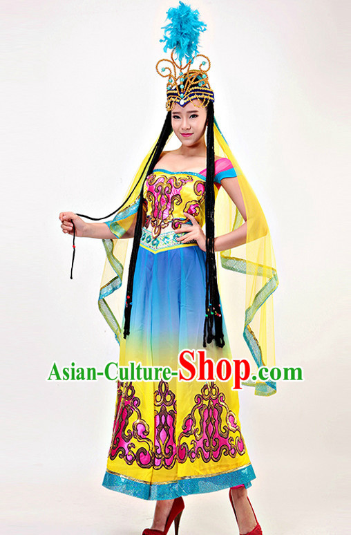 Professional Xinjiang Dance Costumes Fairy Costumes Tinkerbell Costume Salsa Costumes Flapper Costume Burlesque Girls Dancewear Dance Costumes for Competition