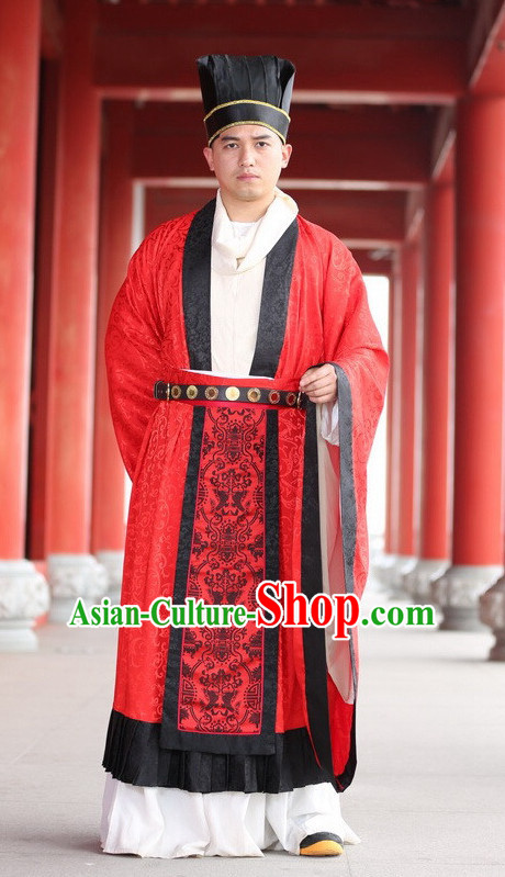 Chinese Tang Wedding Dress and Accessories Complete Set for Bridegrooms