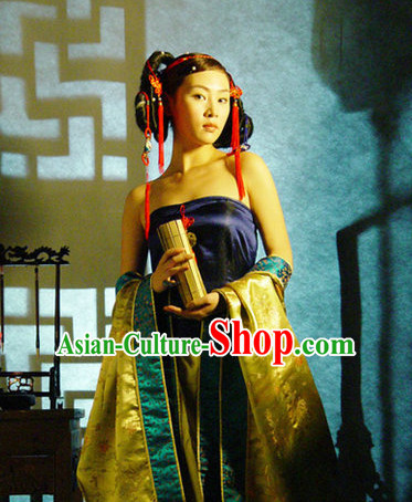 Sexy Asian Hanfu and Headwear Complete Set for Adults