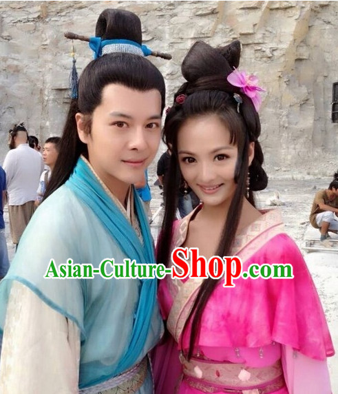 Ancient Chinese Black Long Wigs for Men and Women