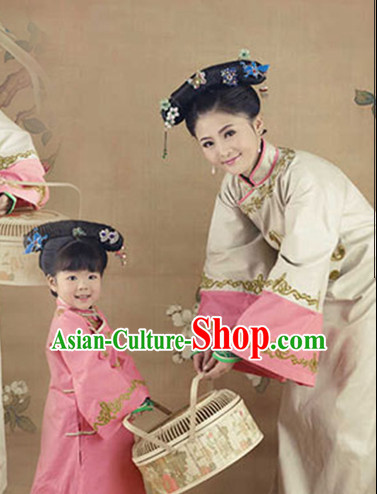 Tradiitonal Chinese Mother and Daughter Hanfu Costumes Complete Set