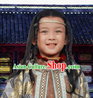 Chinese Ancient Kids Long Black Wigs