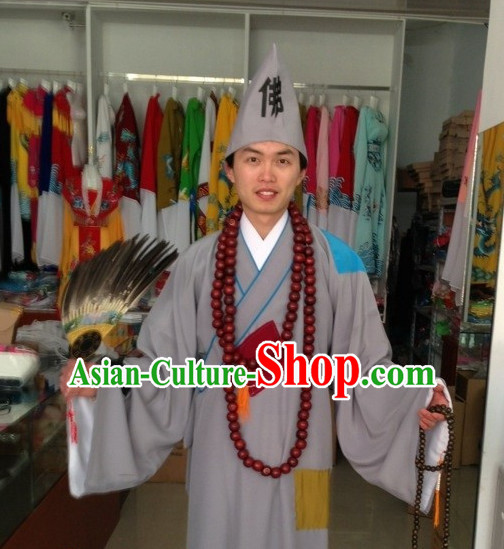 Asian Fashion Chinese Ji Gong Chi Kung Costumes and Hat Complete Set