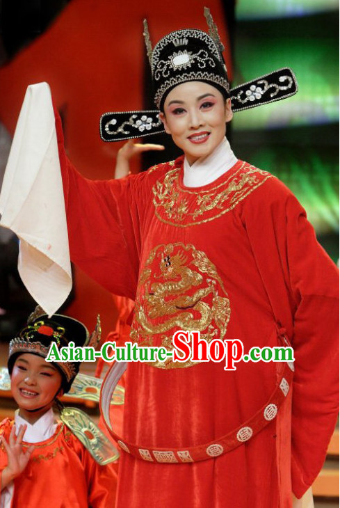 Asian Fashion Chinese Beijing Opera Costume and Hat Complete Set