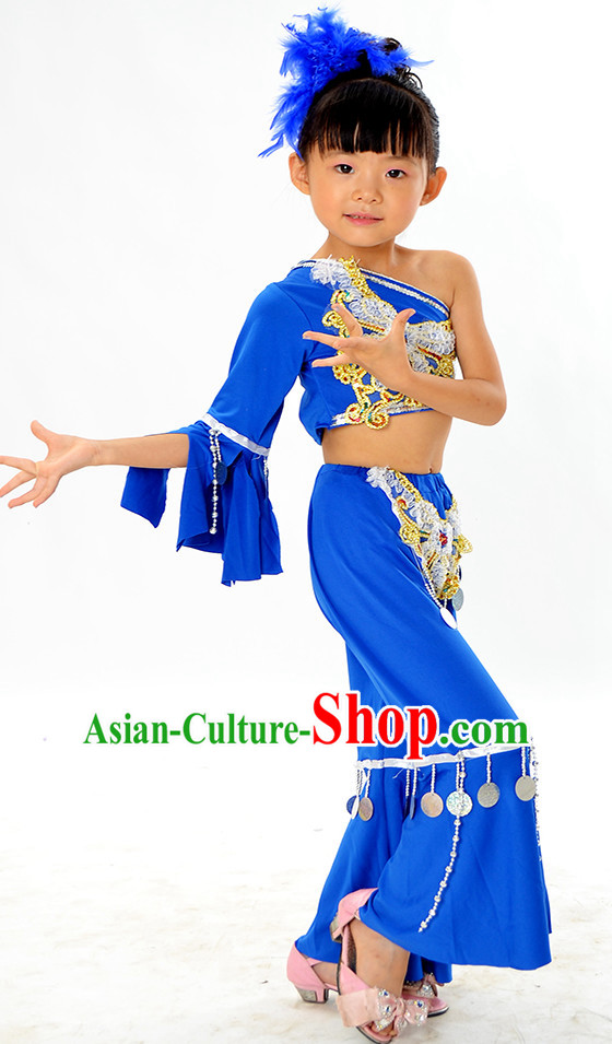 Asian Fashion Chinese Kids Dance Costumes and Headwear