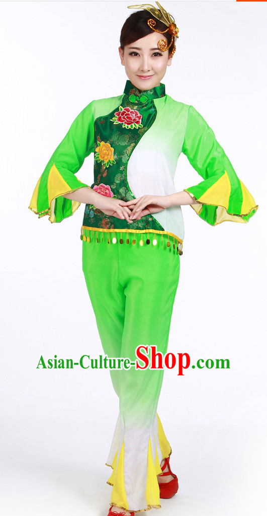 Asian Fashion Chinese Women Fan Dance Costumes and Headwear