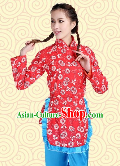 Asian Fashion Chinese Tradiitonal Dress Farmer Perofrmance Costumes for Women
