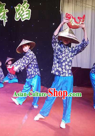 Asian Fashion Chinese Old Society Village Kids Costumes and Bamboo Hat Dancewear