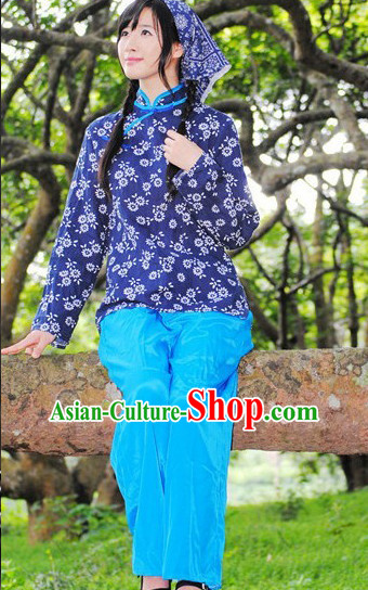 Asian Fashion Chinese Old Society Village Girls Dance Costumes and Headwear
