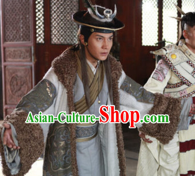 Chinese Ancient Ethnic Minority King Costumes and Headwear Complete Set for Men