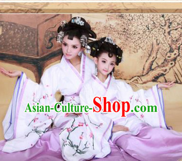 Chinese Ancient Mother and Daughter Hanfu Dresses 2 Sets