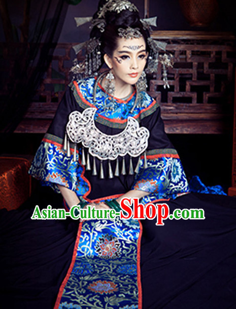 Chinese Ancient Miao Dress and Accessories Complete Set
