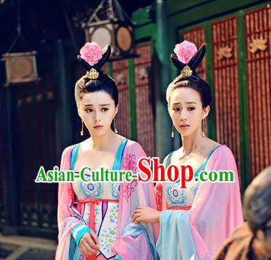 Chinese Ancient Tang Dynasty Palace Maid Clothing and Headwear Complete Set