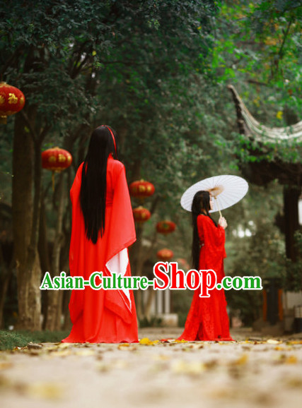 Chinese Red Hanfu Clothes for Women or Kids