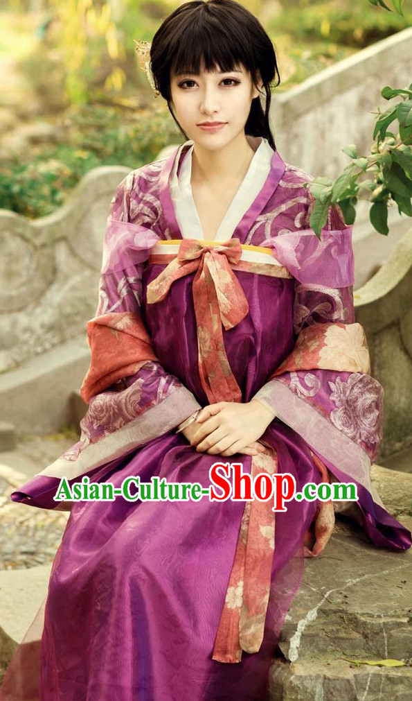 Chinese Classical Tang Dynasty Long Robe for Women
