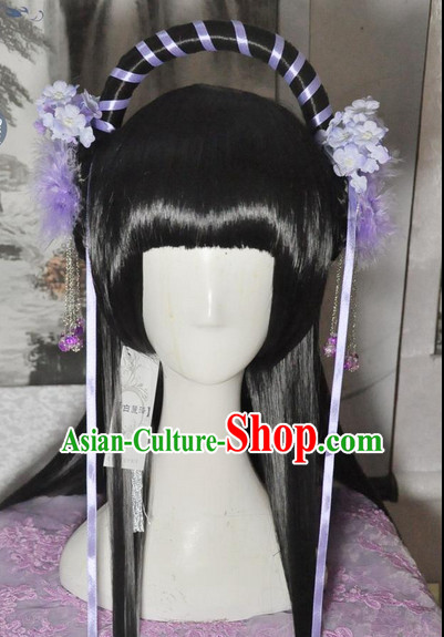 Chinese Style Female Long Wig and Flower Accessories