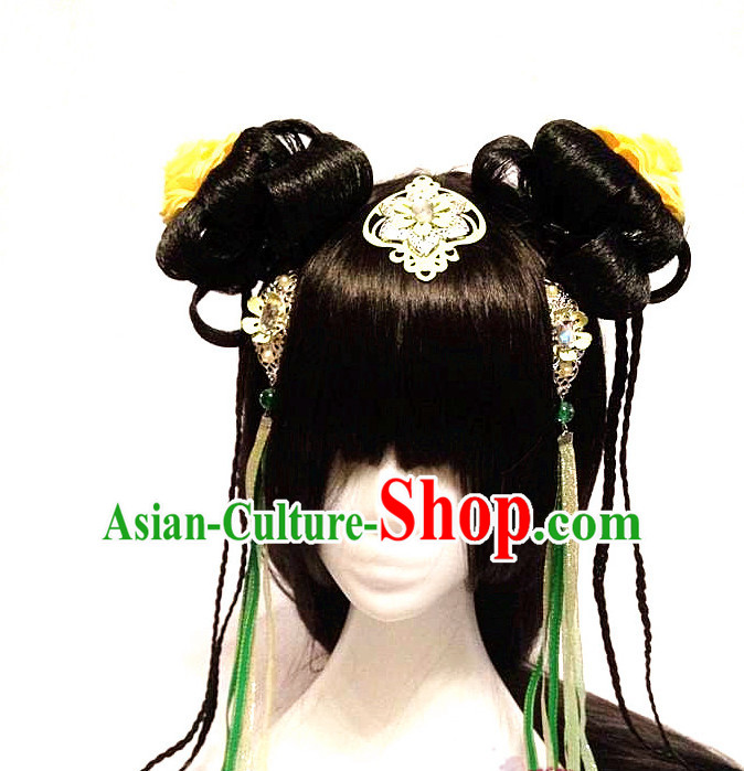 Chinese Style TV Drama Actress Handmade Hair Accessories and Long Wigs