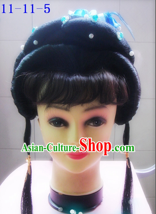 Chinese Style Beijing Opera Hua Dan Black Long Wig for Girls