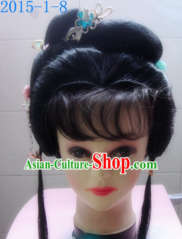 Chinese Style Beijing Opera Hua Dan Black Long Wigs for Women