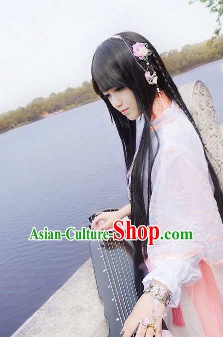 China online Shopping Traditional Chinese Fairy Handmade Hair Accessories and Black Long Wigs
