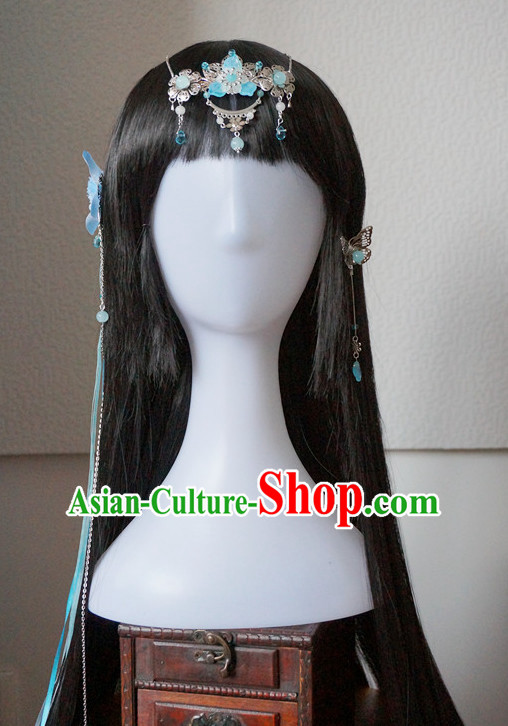 Traditional Chinese Princess Handmade Hair Accessories and Black Long Wigs