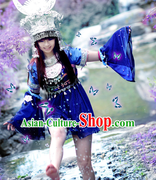 Asia Fashion Top Chinese Miao Ethnic Cosplay Halloween Costumes Complete Set