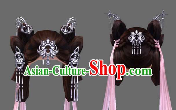 Chinese Handmade Long Black Wigs and Hair Jewelry