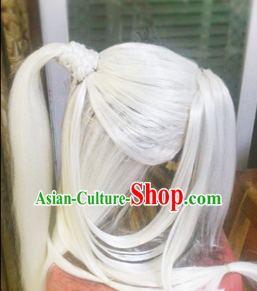 Chinese Swordsman Long White Wigs