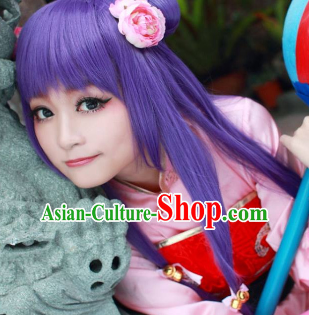 Chinese Cosplay Long Purple Wigs for Girls