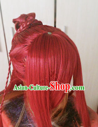 Chinese Wu Xia Drama Cosplay Long Red Wigs for Men
