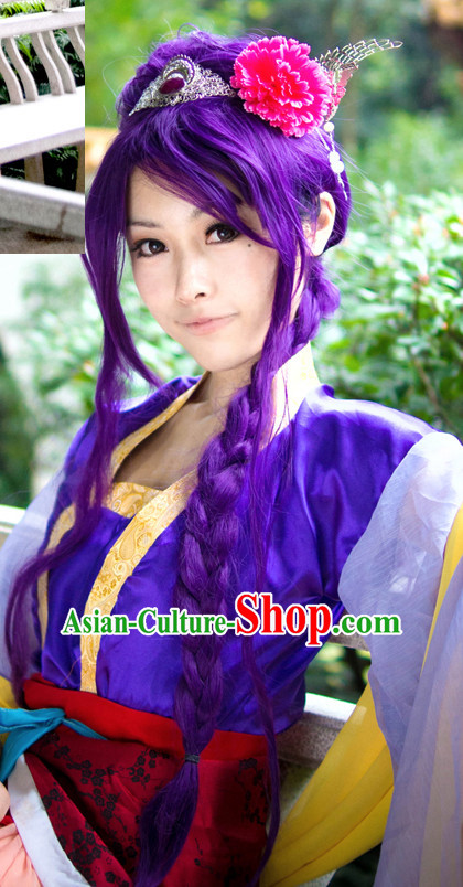Chinese Wu Xia Drama Cosplay Long Purple Wigs for Women