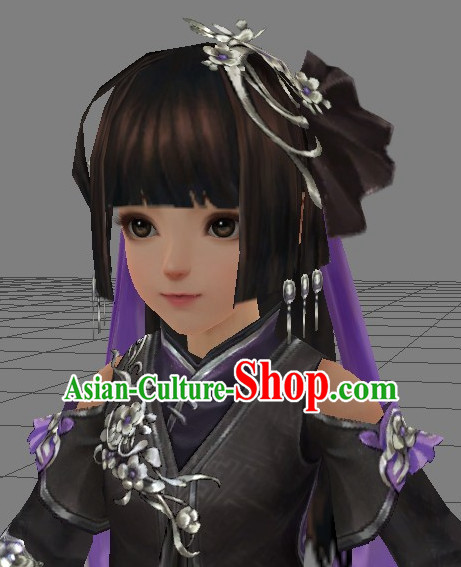 Chinese Ancient Style Beauty Long Black Wigs and Hair Decoration