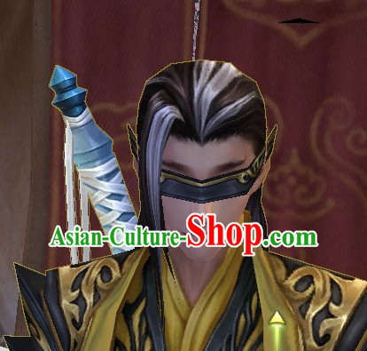 Chinese Ancient Style Kung Fu Master Men's Long Black Wigs