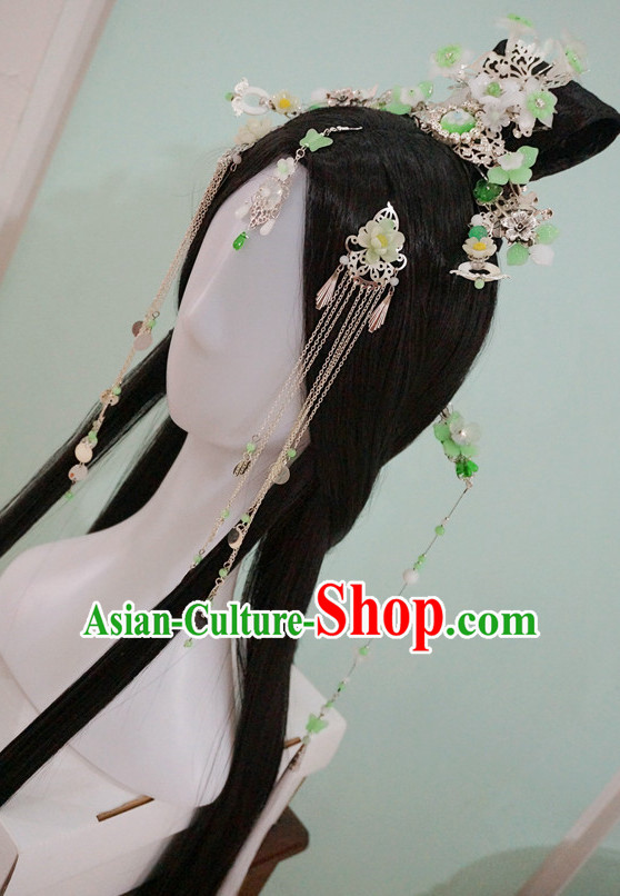 Chinese Traditional Empress Long Wigs and Hair Accessories