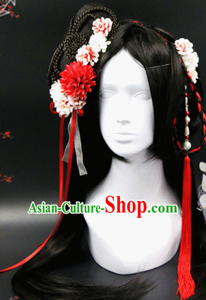 Chinese Ancient Princess Long Black WIgs and Hair Accessories Set