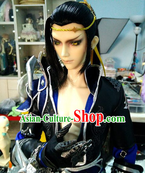 Chinese Ancient Swordsman Style Hair Wigs and Hair Accessory